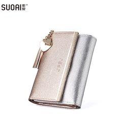 SUOAI New Genuine Leather Wallet Women Long Purse Lady Fashion Wallets Dollar Price #Affiliate