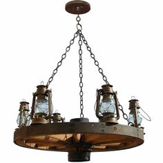 Wagon Wheel Chandelier - Old Western America 1800's - LC521