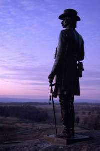 Gettysburg, PA ... looking out over the angle from little round top - statue of Gouvenor Warren