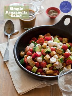Simple Panzanella Salad - Great summer party option. Loved the addition of homemade croutons