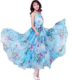 09f553d5b82 Medeshe Womens Summer Floral Long Beach Maxi Dress Lightweight Sundress  Length135cm Blue Floral    Check