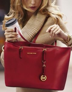 Do Not Lose The Chance To Own Michael Kors Jet Set Saffiano Travel Large Red Totes With A Low Price. #WhatSheWants #Desginer purses