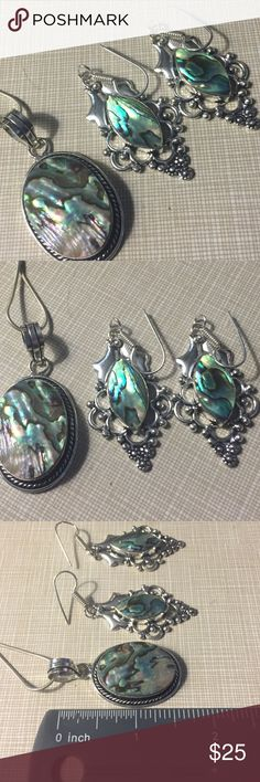 "HOST PICK 11/10/17 Abalone artisan handcrafted set Pendant is around 2' long is stamped 925 silver inlay chain is 17"" to 18"" long approximately and earrings have a beautiful design also stamped 925 inlay approximately 2'5 long  bracelet fits up to 8 ' inlay adjustable stamped 925 inlay ring is size 7 39ct of abalone shell natural gemstone stamped 925 inlay gemstone size is 28x20mm artisan handcrafted NWOT Jewelry Necklaces"