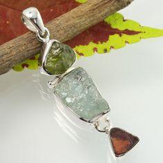 Real AQUAMARINE, APATITE & GARNET Gemstone 925 Sterling Silver Pendant Wholesale #SunriseJewellers #Pendant