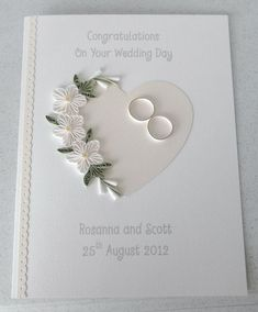 Quilled wedding card paper quilling by PaperDaisyCards on EtsyUse vellum / white embossing, petite petals punchQuilled wedding day card congratulations personalized withIdeas for wedding card congratulations grooms die cut heart witha spray of quille Pretty Cards, Love Cards, Wedding Congratulations Card, Wedding Anniversary Cards, Card Wedding, Cricut Anniversary Card, Wedding Cake, Wedding Invitations, Wedding Vows