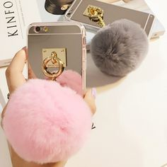 info@lemoltd.com  3D Fluff POM POM Phone Back Cover Case with Mirror for iPhone Case Iphone Cases, Cover, Handmade, Rabbit Fur, Balls, 3d, Mirror, Beautiful, Products