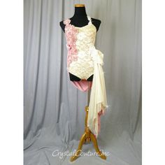 Nude Floral Lace Leotard/Skirt with Appliques - Swarovski Rhinestones - Size AS