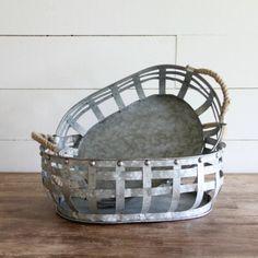 Rustic Basket Weave Galvanized Baskets, Set of 2