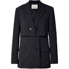 3.1 Phillip Lim Oversized layered pinstriped twill blazer ($795) via Polyvore featuring outerwear, jackets, blazers, midnight blue, layered jacket, oversized jacket, twill blazer, oversized blazer and double layer jacket