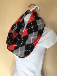New to Sewdivine77 on Etsy: Red Gray and Black Diamond infinity fleece scarf (13.00 USD)