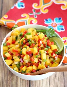 Not only will fresh mango salsa be the most colorful dish on your taco bar table, it'll be one of the first to disappear. A must with fish tacos.