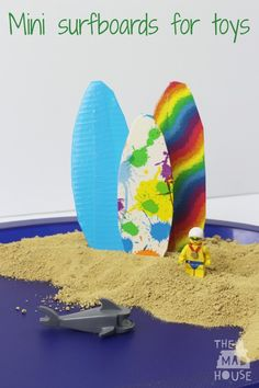 How to make a mini surfboard for toys that floats.  How to make a toy surfboard or windsurf board. Make a surfboard or windsurf board for children's toys with this simple kids craft tutorial with free surfboard template