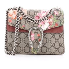 Gucci Dionysus Handbag Blooms Print Gg Coated Canvas Mini (5.070 BRL) ❤ liked on Polyvore featuring bags, handbags, gucci, floral handbags, floral print handbags, brown purse, gucci bags and brown bag