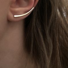 Wave Crest Ear Climbers - Gold