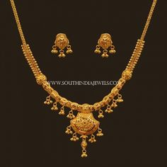 Latest Gold Necklace Set Designs With Price ~ South India Jewels Gold Earrings Designs, Gold Jewellery Design, Necklace Designs, Gold Jewelry Simple, Simple Necklace, Bridal Necklace, Necklace Set, Bridal Jewelry, Pearl Jewelry