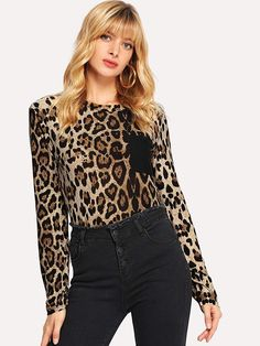 To find out about the Contrast Pocket Leopard Print Tee at SHEIN, part of our latest T-Shirts ready to shop online today! Cheetah Print Outfits, Fashion News, Fashion Outfits, Latest T Shirt, Printed Tees, Cool T Shirts, Summer Outfits, Contrast, My Style