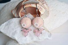 Pink Flower Earrings Pale Pink Earrings Bridal by LandOfJewellery