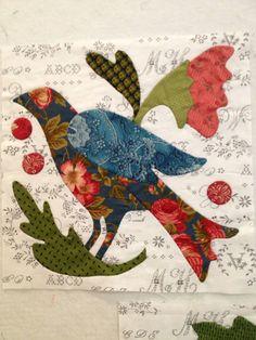 apliqu, art quilt, appliqué, blackbird designs, quilts, block, happi appliqu, birds, august 2013