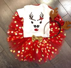 A personal favorite from my Etsy shop https://www.etsy.com/listing/545776304/red-and-gold-polka-dot-tulle-reindeer