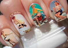 Pin Up Ladies Nail Decals by AMnails on Etsy