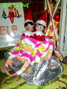Elf on the Shelf-Skippy and Ginger all cozy in Bailey's pocketbook. http://www.lifeinbucklesberry.blogspot.com/2014/12/its-most-wonderful-time-of-year.html