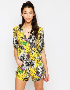 9c7ee30474b Traffic People Playsuit in Crazy Animal Print at asos.com