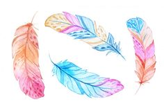 Watercolor Boho Feathers Set By Larysa Zabrotskaya