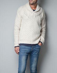 SHAWL-COLLAR SWEATER - Knitwear - Man - ZARA