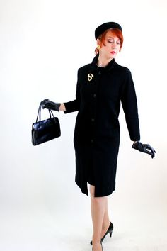 1960s Black Wool Knit Suit