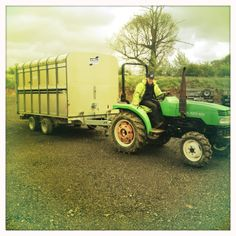 Ifor Williams Livestock Trailer Being Towed By The Universal Trailer Tractor.
