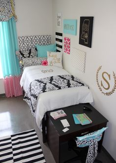 Kate spade inspired dorm room makeover by decor 2 ur door at ole. Kate spade inspired dorm room makeover by decor 2 ur door at ole miss showcase room sorority and dorm room bedding and decor Ole Miss Dorm Rooms, Pink Dorm Rooms, Dorm Room Bedding, Cool Dorm Rooms, Baby Bedding, Bedding Sets, Girls Bedroom, Bedroom Decor, Wall Decor