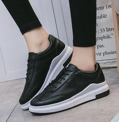 Women Shoes Lace-up White Black All-match Simple Casual Vulcanize Shoes