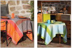 "Nappes Jacquard ""Jammu"" traitées Téflon par Valdrôme. Jacquard tablecloths ""Jammu"" Téflon treated by Valdrôme."