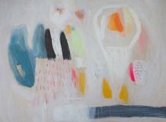 GICLEE PRINT white blue green yellow pink modern by LolaDonoghue
