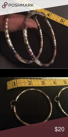🌹 GF Triple Colored Hoop Earrings Like new, gold filled (GF) colors White, Gold and Pink. No offers accepted on items $20 or below 🌺 Jewelry Earrings