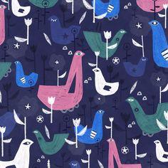 Bird and tulip - bird, floral pattern by Laurence Lavallée aka Flo Pattern Art, Tulip, My Arts, Kids Rugs, Bird, Animal, Wallpaper, Illustration, Floral