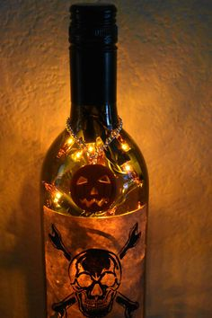 Poizin Wine Bottle Light orange lights Orange Pumpkin top