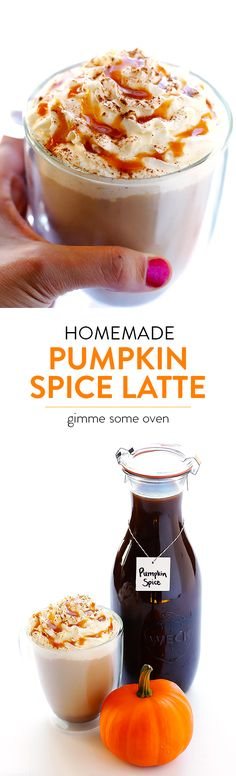 Learn how to make this favorite fall drink at home!  It's quick and easy to whip up, it's made with real pumpkin, and it's much cheaper than the coffee shop version. | gimmesomeoven.com