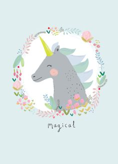postcard with a magical unicorn printed on 300 gram FSC sulfateboard x cm also available as poster Aless Baylis for Petite Louise Illustration Mignonne, Cute Illustration, Unicorn Illustration, Real Unicorn, Magical Unicorn, Image Deco, Art Mignon, A4 Poster, Unicorns And Mermaids