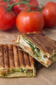 Try these fantastic panini with Chicken, Pesto & Mozzarella. They are so easy to make and so good! Chicken Pesto Sandwich, Grilled Pesto Chicken, Grilled Sandwich, Chicken Bacon, Mozzarella, Panini Recipes, Perfect Grill, Chicken Slices, Chicken Flavors