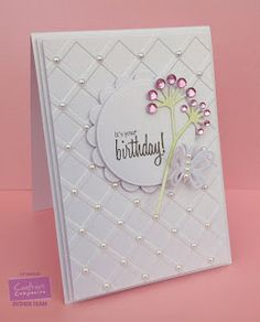 Card made using Crafter's Companion Centura Pearl Card Embossalicious Lattice folder, Die'sire Circle and Scalloped Circle dies, A6 Clear Sentimentals - Greetings Birthday, Aqua Pen (Bud Green) (colour the stalk of the flower) Die'sire Wild Trio Die set, Die'sire Beautiful Butterflies . Made by Liz Walker @crafterscompuk