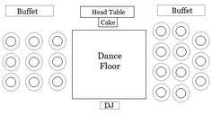 Wedding reception floor plan - head table. Buffet tables on each side