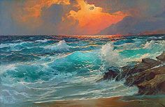 Artist Alexander Dzigurski - seascape paintings {Part photos) - - Xaxor Landscape Art, Landscape Paintings, Ocean Scenes, Paintings I Love, Seascape Paintings, Ocean Art, Pictures To Paint, Watercolor Art, Fine Art