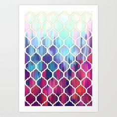 Moroccan Meltdown - pink, purple & aqua painted tiles Art Print by Micklyn | Society6