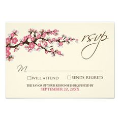 Cherry Blossoms RSVP Card (pink) Personalized Invite
