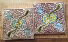 Set Of 2 Art Nouveau 1880's 6x6 Ceramic Tiles Signed  #ArtNouveau