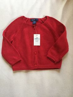 Baby Gap Girls Cardigan Sweater Size 3 6 Months New with Tags Red | eBay