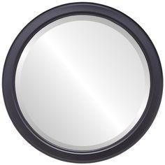 Toronto Framed Round Mirror in Matte Black Black Round Mirror, Round Wall Mirror, Beveled Mirror, Round Mirrors, Framed Mirrors, Round Picture Frames, Thing 1, Mirrors Wayfair, Hunter Green