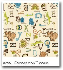 I just adore this Alphabet Party fabric designed by Jenni Calo for Connecting Threads!