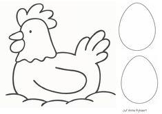Poule et oeufs en N&B